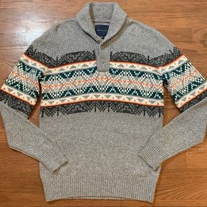 American Eagle 1/4 Button Sweater Wool Blend NEW